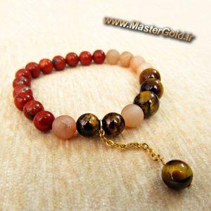 دستبند سنگ طبیعی چشم ببر و جاسپر قرمز و عقیق مات بژ