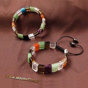 دستبند رنگارنگ سنگ طبیعی