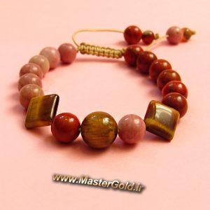 دستبند سنگ طبیعی چشم ببر – جاسپر و رودونیت