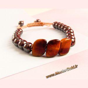 دستبند سنگ طبیعی چشم ببر و حدید