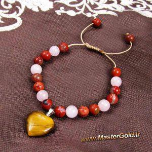 دستبند سنگ طبیعی چشم ببر و جاسپر قرمز و رز کوارتز