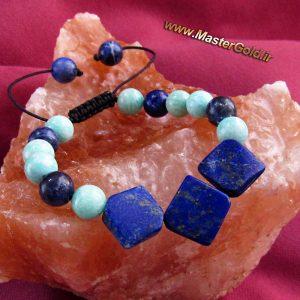 دستبند سنگ طبیعی لاجورد , آمازونیت و سودالیت